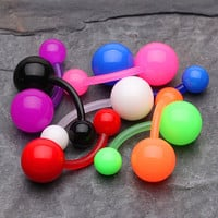 8 Pcs Assorted Basic Bio-Flexible Solid Acrylic Belly Button Ring