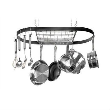 Ceiling Mount Wrought Iron Hanging Oval Pot Rack with 12 Hooks
