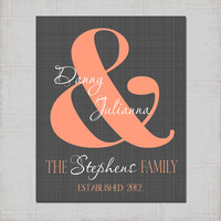 Personalized Couple Name Initial Peach Gray Wall Art PRINT or CANVAS Custom Wedding Gift, Bridal Shower Anniversary Gift Couples Picture