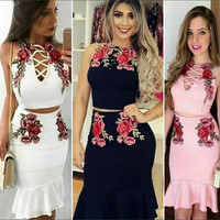 Sexy Rose Embroidery Pack Hip Two-Piece Dress