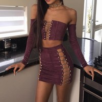 Chained & Stripped Two-Piece Suede Dress
