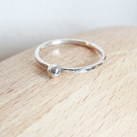 Tiny Dot Silver Stacking Ring - Skinny Hammered Silver Stacking Ring 16g - Trendy Everyday Jewelry