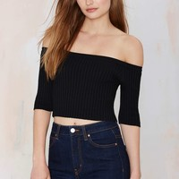 Off and On Ribbed Crop Top - Black