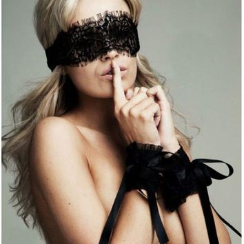 Adult Sex products 2016 New Women's Sexy Lingerie Hot Black Lace Eye Covers with 1 pair Gloves Hand Wrap Sex Toy Costumes