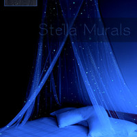 Glow in the Dark Star Canopy - BLACK - surround your bed with stars!