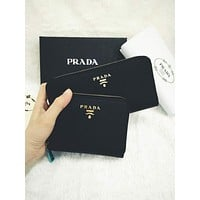 Prada Classic Trending Women Stylish Leather Zipper Wallet Purse Set Two Piece I/A
