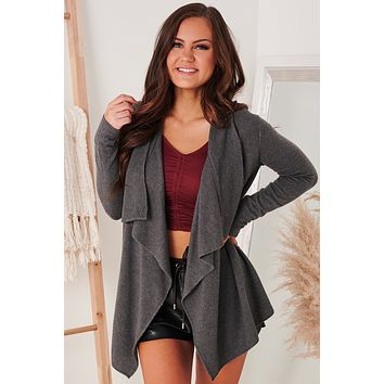 This Time Around Draped Open Front Cardigan (Charcoal)