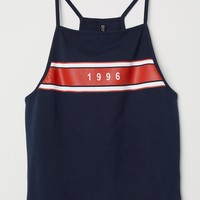 Short Jersey Top - Dark blue/1996 - Ladies | H&M US
