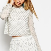 Needle & Thread Embellished Grid Mesh Top