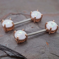 Opal Glitter Rose Gold Nipple Bar Jewelry Barbell
