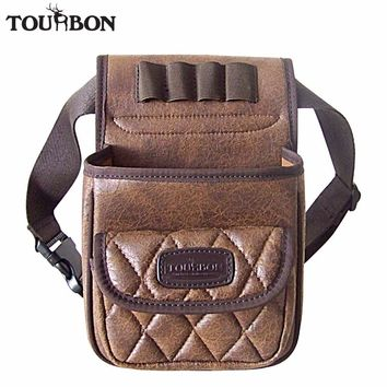 Tourbon Hunting Tactical Gun Cartridges Bag Shooting Speed Loader Game Bag Ammo Shells Holder Durable PU Pouch with one Pocket