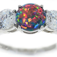 4 Carat Black Opal With Zirconia Round Ring .925 Sterling Silver Rhodium Finish
