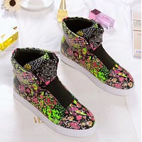 Versace Fashion new women shoes flat bottom floral short boots womem and men shoes casual flower increase high top single shoes Black