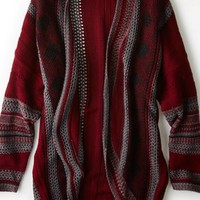 AEO Women's Don't Ask Why Patterned Open Cardigan