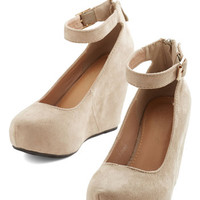 ModCloth Minimal Gonna Make It Happen Wedge in Beige