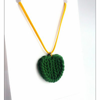 Green Heart Knitted Charm Necklace, Polymer Clay Jewelry, Heart Jewelry, Stocking Stuffer, Gift For Sister, Christmas Gifts, Christmas Sale