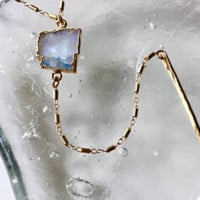 Bonnie Boardman Moonstone Bar Drop Necklace