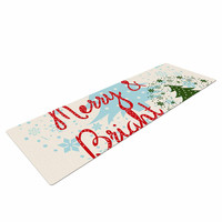 """Famenxt """"Merry And Bright"""" Holiday Typography Yoga Mat"""
