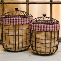 Primitive Burlap Wire Basket- 2 piece