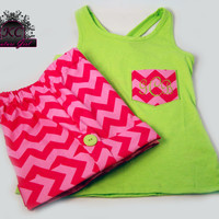 Chevron Shorts Embroidered Pocket T Lime and Fuchsia Pink Boutique Clothing  4/5, 6/6X, 7/ 8, 10/12  and 14
