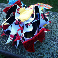 Mickey Bow - Stacked magical mouse stacked boutique bow - Birthday bow - cake smash bow - baby girl photo prop
