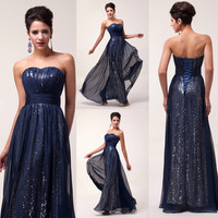 Sexy Long Chiffon Sequins Women's Wedding Formal Ball Prom Party Evening Dresses