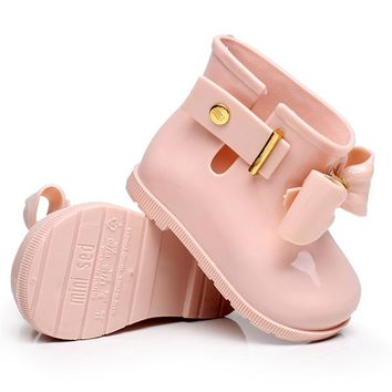 Mini Melissa 2018 New Mini Children Jelly Bowknife Rain Boots Non-slip Waterproof Girls Rain Boots Jelly Shoes Princess Sandals
