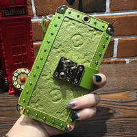 LV  iPhone7 holster Messenger Apple mobile shell 6plus luxury case hanging collar holding card package card Green