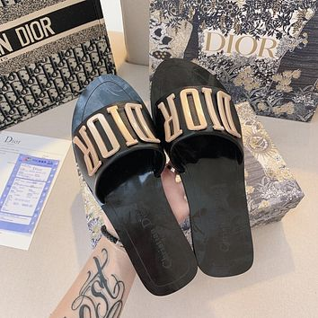 Wearwinds Dior 2020 new women's letter metal logo lazy slippers shoes