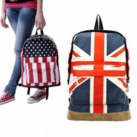 Flag Pattern Unisex Canvas Teenager School Bag Book Campus Backpack For Girl Boy 2 Style High Quality