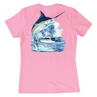Guy Harvey Women's Marlin Boat Short Sleeve T-Shirt