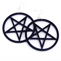 Large Pentagram Earrings. BLACK