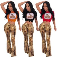 Women Fashion Leopard Two Piece Short Sleeve Crop Top Wide Leg Pant Set