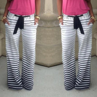 Stripe Jogging Pants with Belt