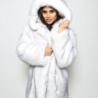 Fox Fur Coat Winter Jacket Women Hooded Coats Jackets Faux Fur Coats Womens Femme Mujer Damen Pelzmantel Fell Jacket Overcoats