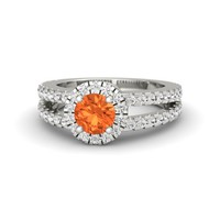 Round Fire Opal 14K White Gold Ring with White Sapphire