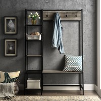 Urban Industrial Gray Wash Hall Tree with Shelves