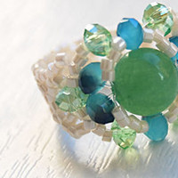 Blue green amethyst gemstone swarovski beaded stretch ring