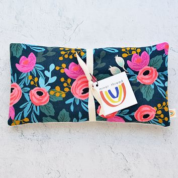 Oversized Eye Pillow in Rosa Floral Canvas Navy
