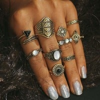 10PCS/Set Punk Vintage Women Knuckle Zircon Rings Exaggerated Ring