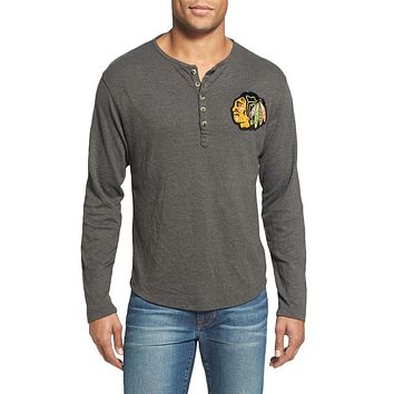 Chicago Blackhawks - Chest Logo Primo Adult Henley Long Sleeve T-Shirt