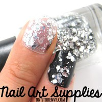 nailartsupplies | Silver Mermaid - Silver Sparkly Fine and Hex Glitter Nail Polish Laquer 9.8ml | Online Store Powered by Storenvy
