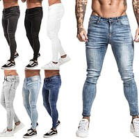 GINGTTO Jeans Men Elastic Waist Skinny Jeans Men 2020 Stretch Ripped Pants Streetwear