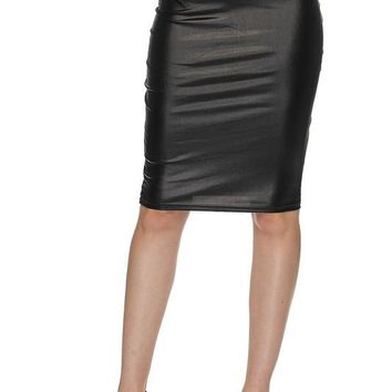 faux leather pu pencil skirt