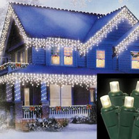 Warm Clear Wide Angle Icicle Christmas Lights - 70 Bulbs On Green Wire