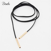 Long Black Chocker Necklace Clothing Accessories Vintage Gold Color Tube False Collar Chokers Leather Jewelry For Women DN424/5
