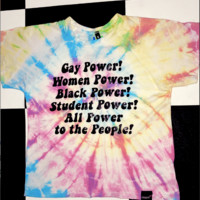 SWEET LORD O'MIGHTY! POWER TO THE PEOPLE TIEDYE CROP TEE