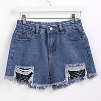 Contrast Fishnet Raw Hem Denim Shorts