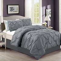 4 Pieces Solid Grey Pinch Pleat Goose Down Alternative Comforter Set (Double) FULL Size Bedding