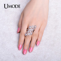 UMODE 2016 Flower Shaped Micro Round Cubic Zirconia Adjustable Rings White Gold Color Jewelry for Women Party Rings UR0294